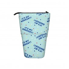 (small Scale) It's My Barkday! Blue On Blue C20BS Pop Up Pencil Case Stand Up Pen Holder Cute Telescopic Pencil Pouch,Very suitable for kids Telescopic Pencil Case,Pencil Telescopic.