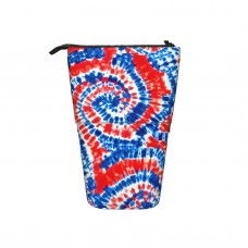 (small Scale) Red White And Blue Tie Dye LAD19BS Pop Up Pencil Case Stand Up Pen Holder Cute Telescopic Pencil Pouch,Very suitable for adults Telescopic Pencil Case,Pencil Telescopic.