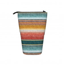 (small Scale) Serape Southwest Stripes Teal LAD19 Pop Up Pencil Case Stand Up Pen Holder Cute Telescopic Pencil Pouch,Very suitable for kids Telescopic Pencil Case,Pencil Telescopic.
