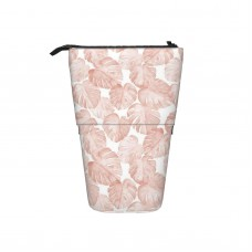 (small Scale) Watercolor Monstera Leaf Dusty Pink Pop Up Pencil Case Stand Up Pen Holder Cute Telescopic Pencil Pouch,Very suitable for students Telescopic Pencil Case,Pencil Telescopic.