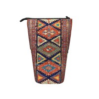 Southwestern Farmhouse II 19th Century Colorful Red Yellow Blue Green Aztec Farm Stars Pattern Pop Up Pencil Case Stand Up Pen Holder Cute Telescopic Pencil Pouch,Very suitable for adults Telescopic Pencil Case,Pencil Telescopic.